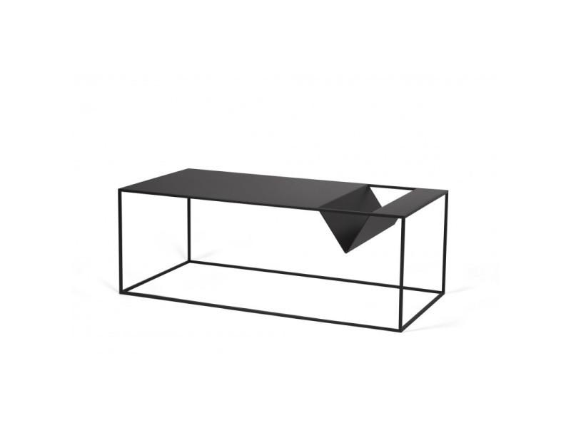 Table basse industrielle en métal noir flore