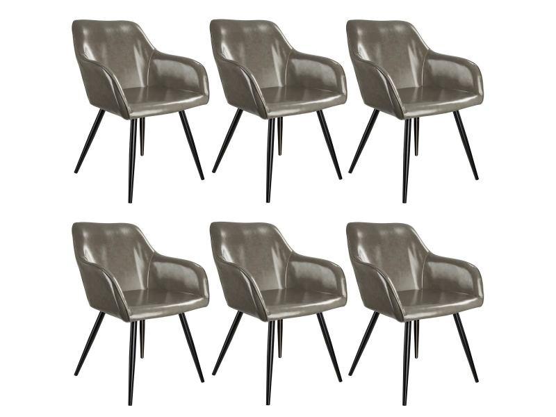 Tectake 6 chaises marilyn en cuir synthétique - gris foncé-noir 404116