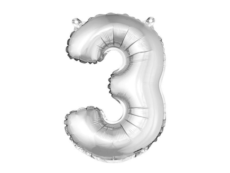 Ballon uni métallisé en aluminium argent chiffre 3 - h 36 cm