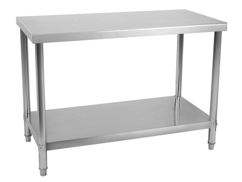 Table de travail professionnelle acier inox pieds ajustable 120 x 60 cm helloshop26 3614080