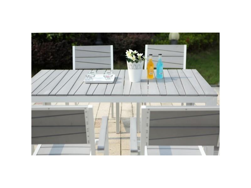 Le carillon : salon de jardin aluminium et polywood 6 places gris et ...