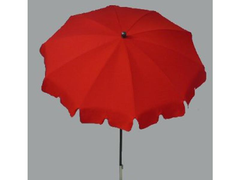 Parasol rond centré coloris rouge - dim : h 230 x d 200/10 cm - pegane -
