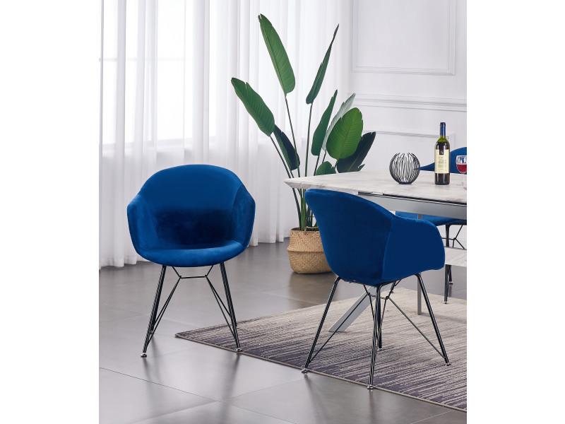 Valentina - lot de 2 chaises scandinaves en velours bleues - style vintage - salle à manger, cuisine, bureau