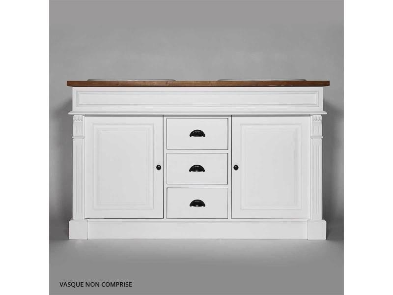 Meuble salle de bain bois massif blanc et ciré 2 vasques, 2 ...