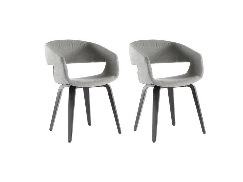 p>lot de 2 chaises de salle manger gris clair andal</p> Lot de 2 ...