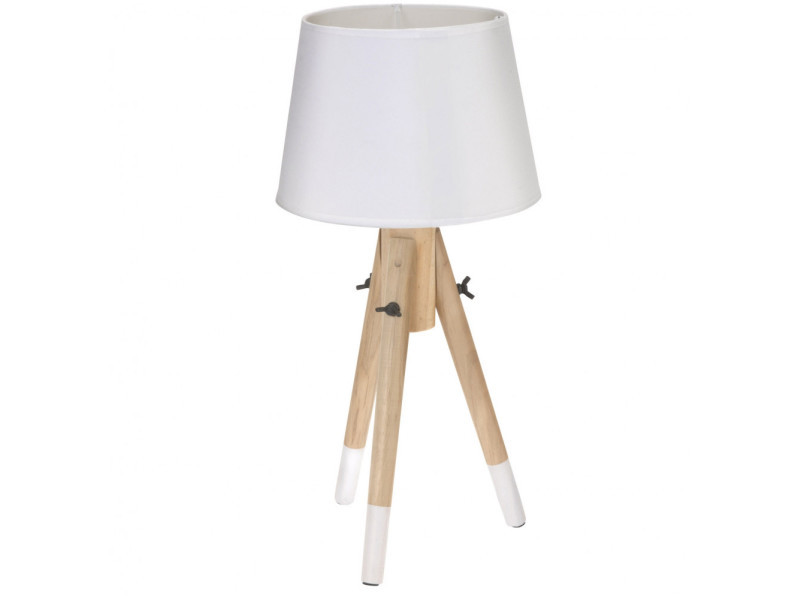 Lampe De Chevet 49 Cm Bois Blanc Vente De Lampe