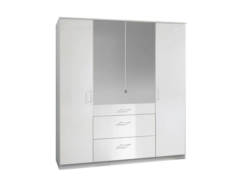 armoire penderie cooper blanche avec miroirs 4 portes. Black Bedroom Furniture Sets. Home Design Ideas