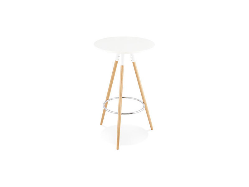Table de bar ronde 65 cm en bois naturel et blanc