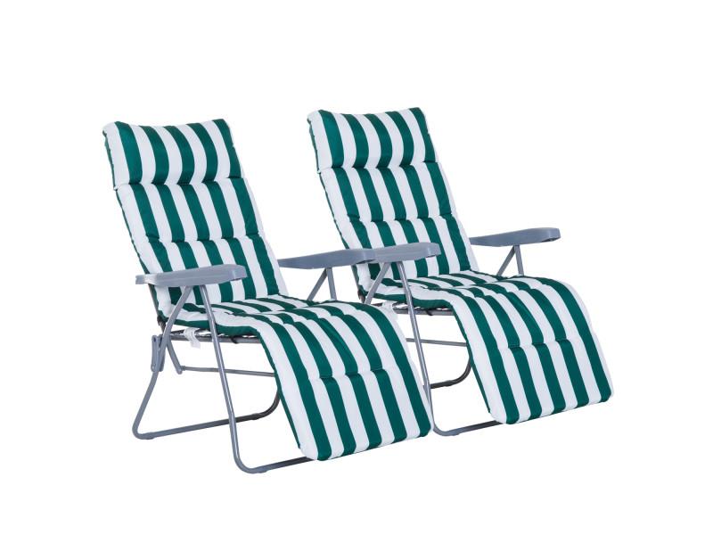 Lot de 2 chaise longue bain de soleil adjustable pliable ...
