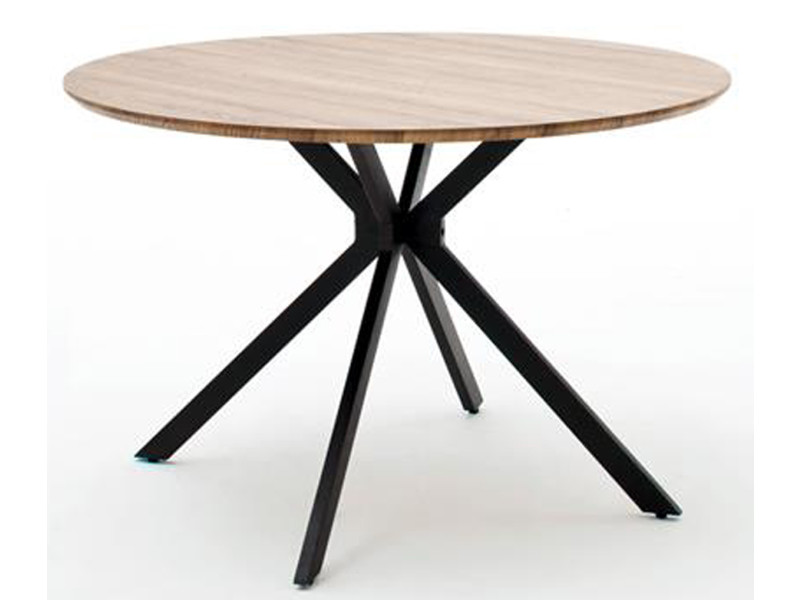 Table à manger finition chêne sauvage / anthracite - l.120 x h.76 x p.120 cm -pegane-