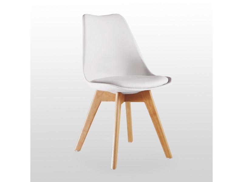 Chaise scandinave blanche lorenzo - assise rembourrée - salle à manger,  cuisine ou bureau