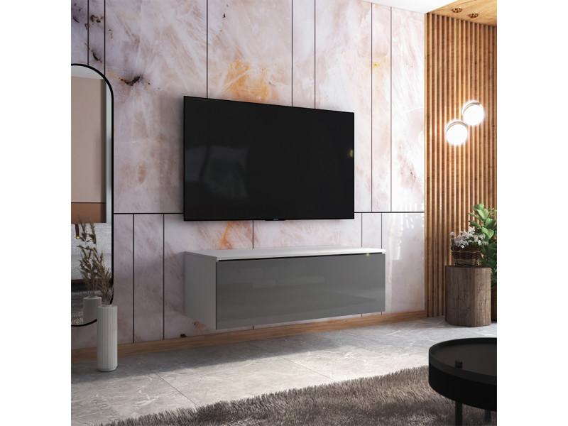 Meuble tv - skylara - 100 cm - blanc mat / gris brillant
