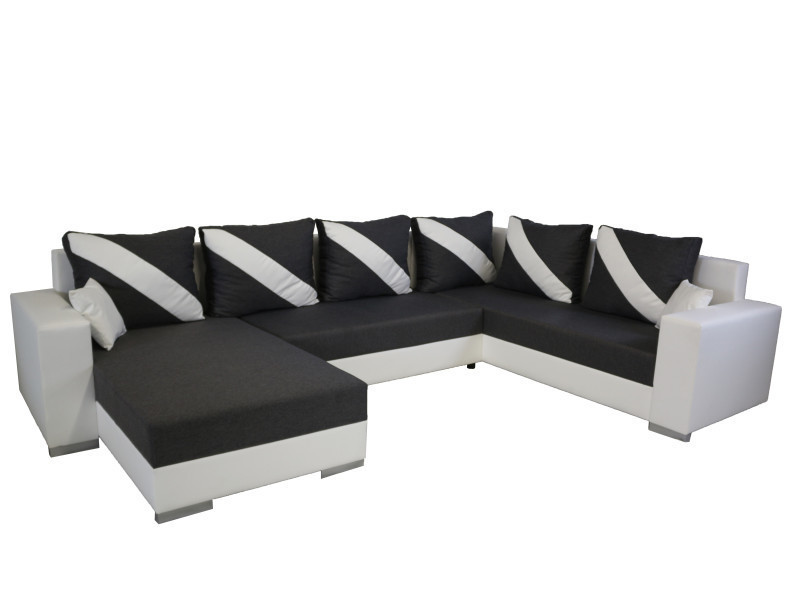 Canapé panoramique convertible kemira gris foncé et blanc