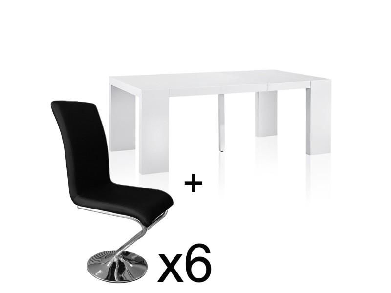 Table extensible blanc laqué + 6 chaises colami noir