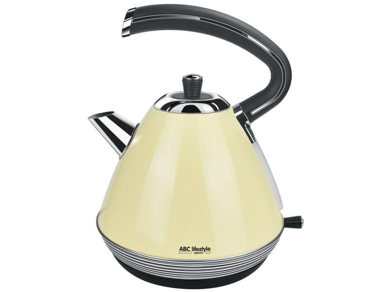 Bouilloire électrique vintage-1,7l-ébullition rapide-inox-beige