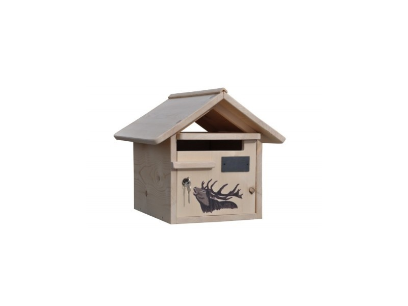 Boite aux lettres bois creastuce : grand cerf, 1 porte