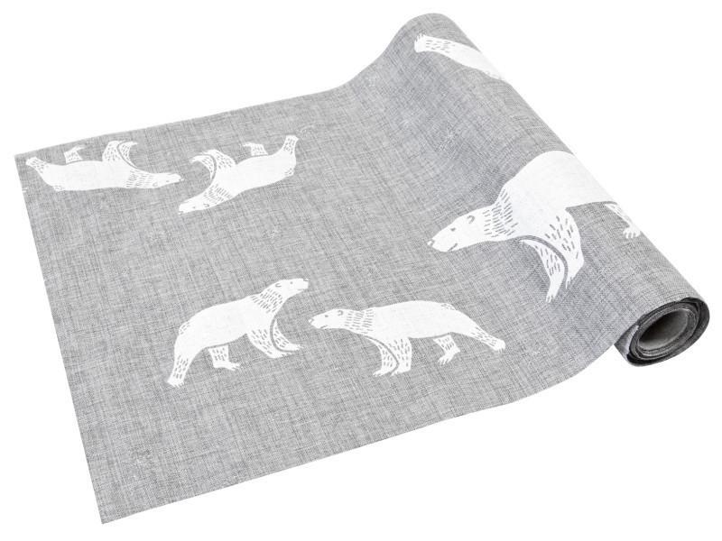 Chemin de table noël imprimé ours polaire - 28 cm x 4 m