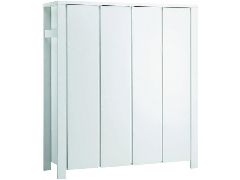 Armoire bébé 4 portes bois laqué blanc milano l 179 x h 200 x p 60 cm 06 649 52 02