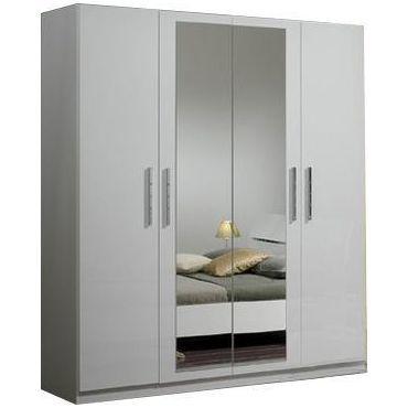 Armoire 4 portes coloris blanc laqu avec miroir central p - Armoire chambre avec miroir ...