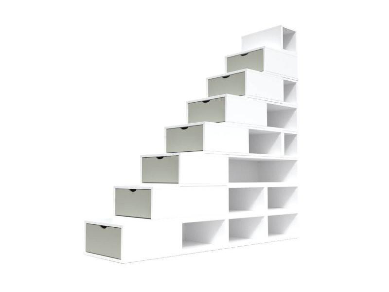 Escalier cube de rangement hauteur 200 cm blanc/moka ESC200-LBMoka