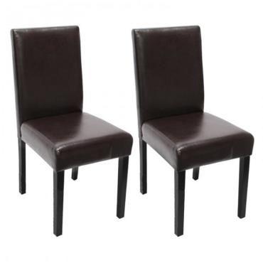 Lot de 2 chaises de salle à manger simili cuir marron pieds foncés cds04039 E76860863