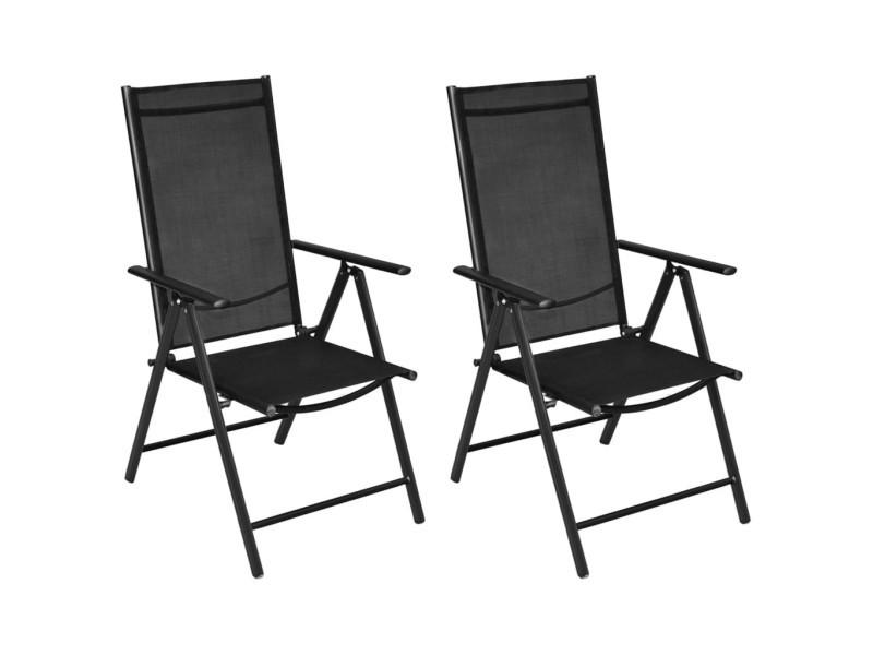 Chaises pliables de jardin 2 pcs aluminium et textilène noir 41730