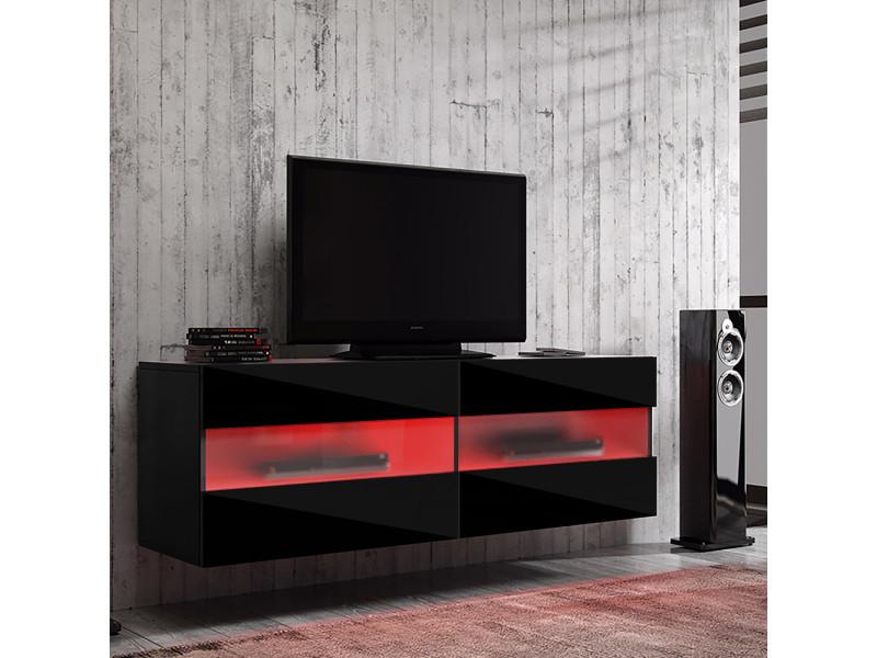 Meuble tv - brico - 100 cm - noir mat / noir brillant - avec led rouge