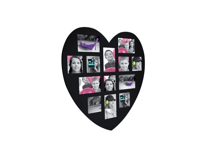 Pêle-mêle 13 photos - cadre multi photos en forme de coeur - noir