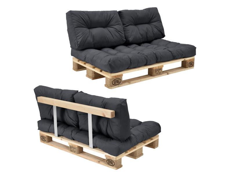 en.casa] canapé de palette euro- 2-siège avec coussins- [gris foncé ...
