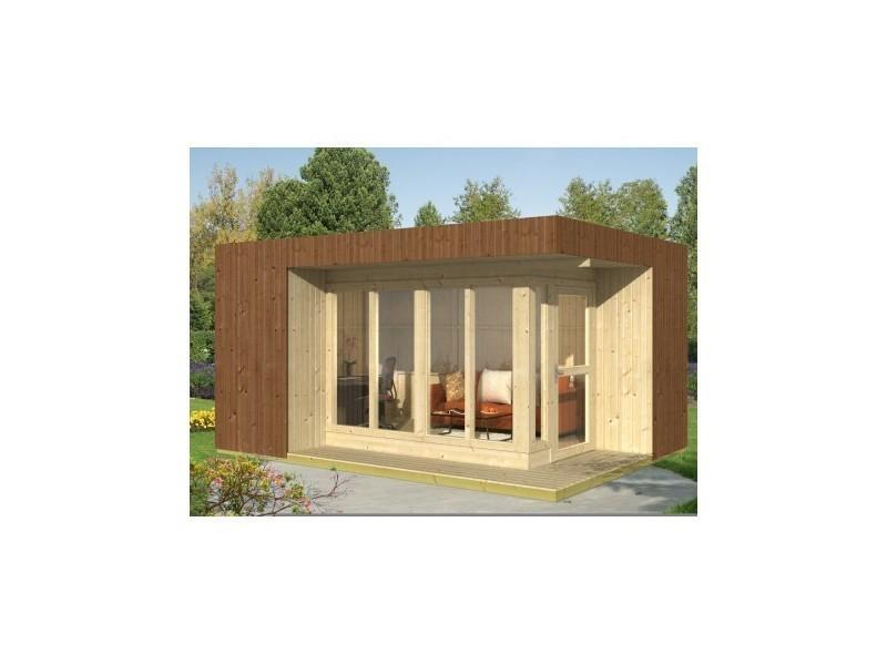 Bureau de jardin de 17,07m u00b2 en bois massif 19mm tim + plancher Conforama # Bureau De Jardin En Bois