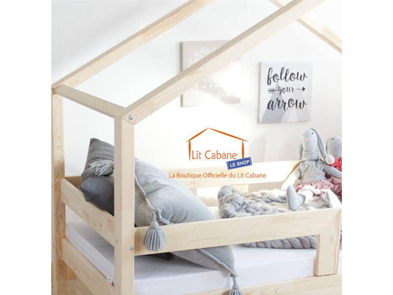 lit cabane 90x190 en pin massif barri re sommier collection roma vente de litcabane shop. Black Bedroom Furniture Sets. Home Design Ideas