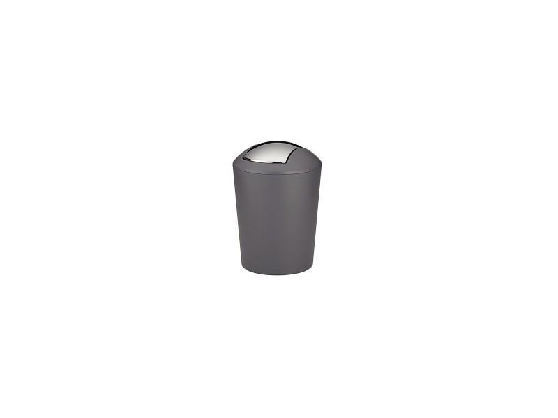 Poubelle de salle de bain en plastique gris et argent marta - 5l