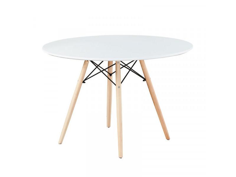Table de repas ronde 100 cm blanc - olaf - l 100 x l 100 x h 75 cm