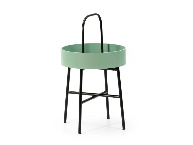 Table auxiliaire table basse ronde Jaipur avec plateau en mdf vert et structure métallique en couleur noir mat/diamètre: 40 cm
