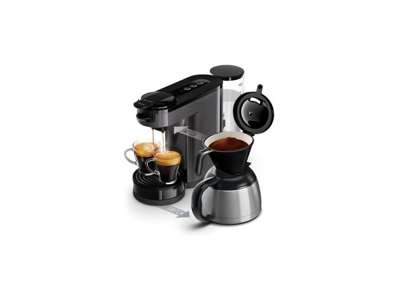 Philips senseo hd6591/21 machine a cafe a dosette ou filtre switch - verseuse isotherme - 1 l - gris