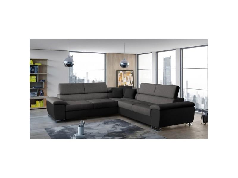 Canapé d'angle convertible cotire gris et noir