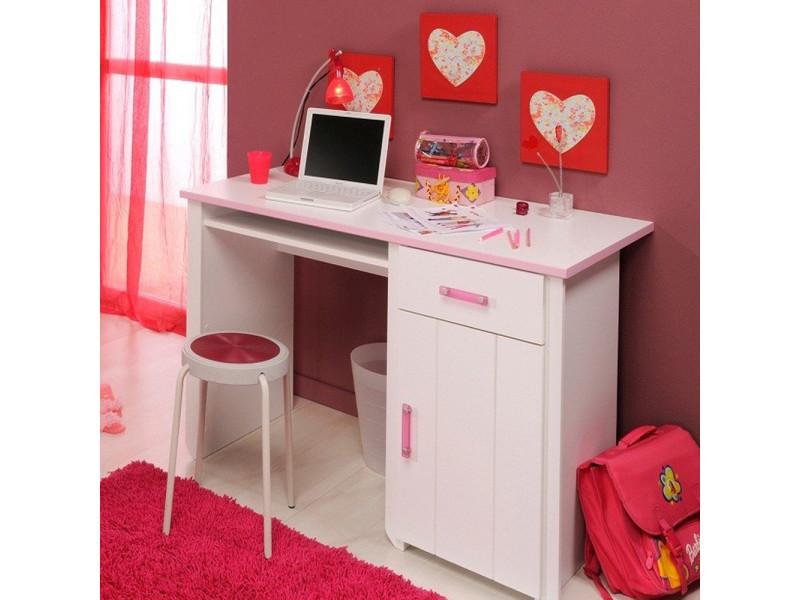 Bureau blanc et rose pour chambre fille l h p cm