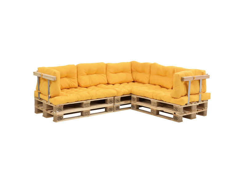en.casa] canapé de palettes - 5-siège avec coussins - (moutard) kit ...