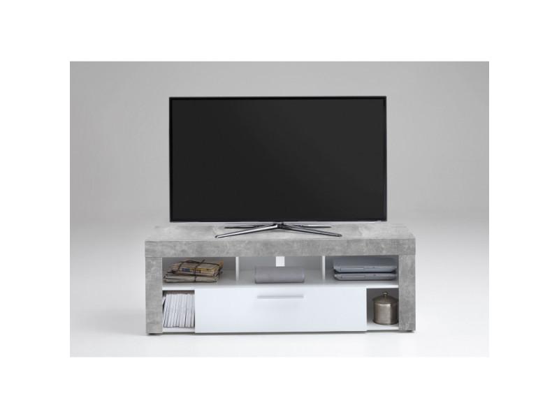 Meuble tv contemporain 150 cm myriam / coloris : blanc/béton