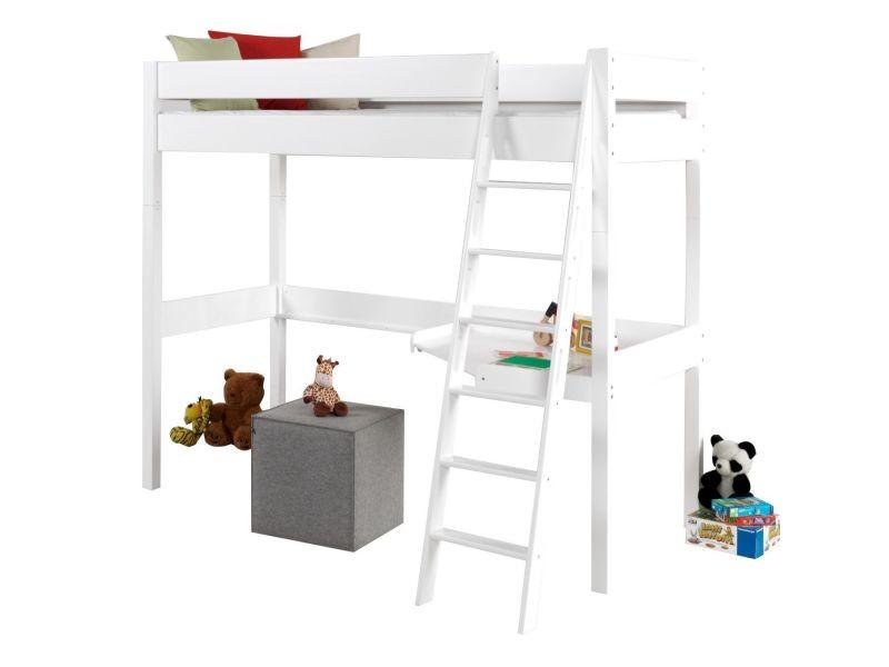 lit mezzanine 90x200 cm en bois h tre massif coloris blanc p 20780 co c berke vente de lit. Black Bedroom Furniture Sets. Home Design Ideas