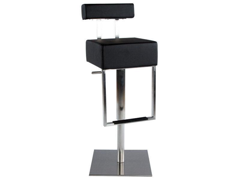 Tabouret de bar avec repose pieds cubo noir
