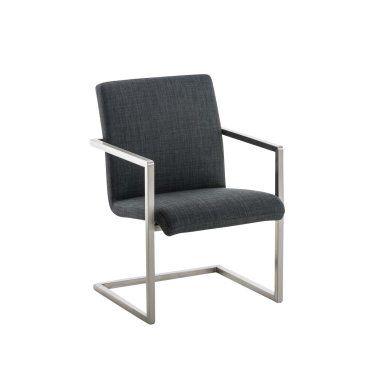 Fauteuil bureau chaise de visiteur en tissu gris fonc et mtal