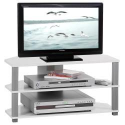 Meuble banc tv design jack décor blanc et gris