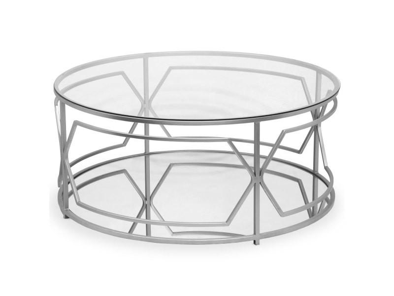 Table basse ronde bolano argent et verre transparent