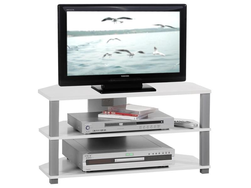 Meuble banc tv design jack d cor blanc et gris vente de for Meuble tv plat
