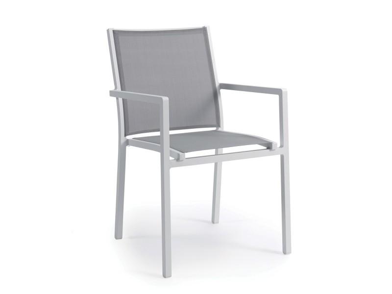 Chaise en alu blanc textilène gris clair brian