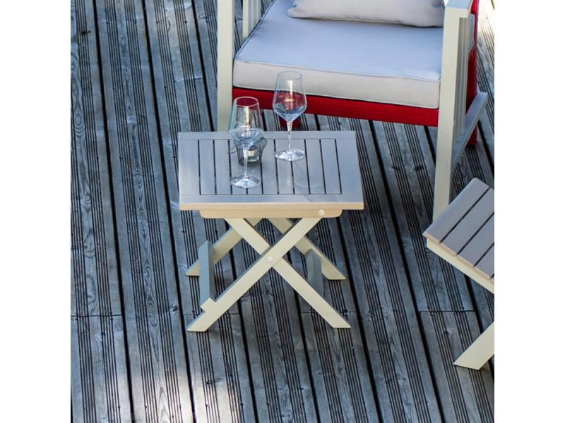 Table d\'appoint de jardin en acacia hybride pliante 45x45x38cm taupe ...