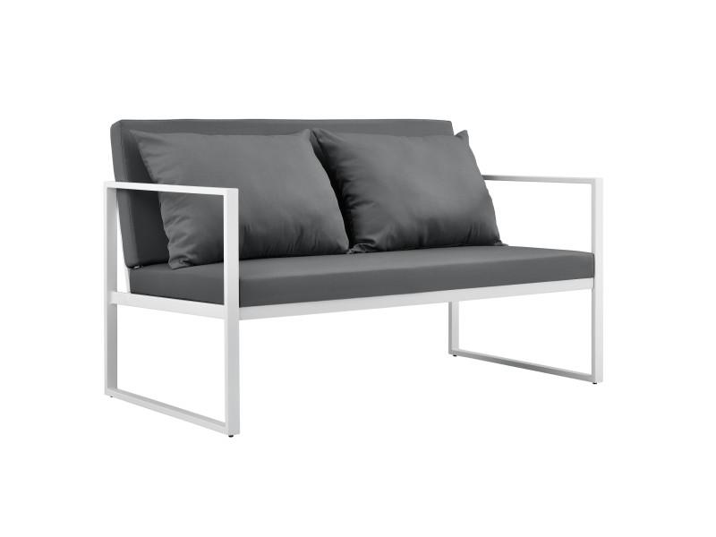 [casa.pro] canapé extérieure avec coussins armature métal 70 x 114 x 60 cm blanc