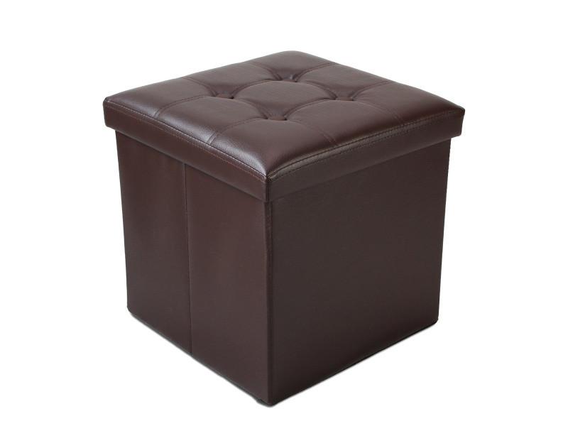 Ottoman avec espace de stockage, banc pliant, 38 x 38 x 38 cm, marron, finition piquée et capitonnée, charge maximale: 150 kg 3700778712293