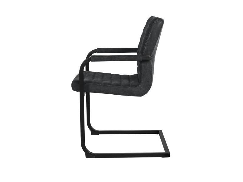[en.casa] 6x chaise de design noir rembourré salle à manger cuir-synthétique cuisine fauteuil